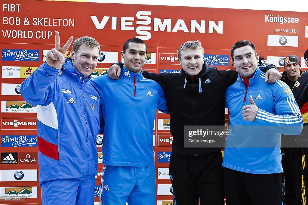 Team of Russia 1 (L-R) Alexander Zubkov, Alexey Negodaylo, Dmitry Trunenkov and Maxim Mokrousov celebrate their win on January 13, 2013 in Koenigssee, Germany.