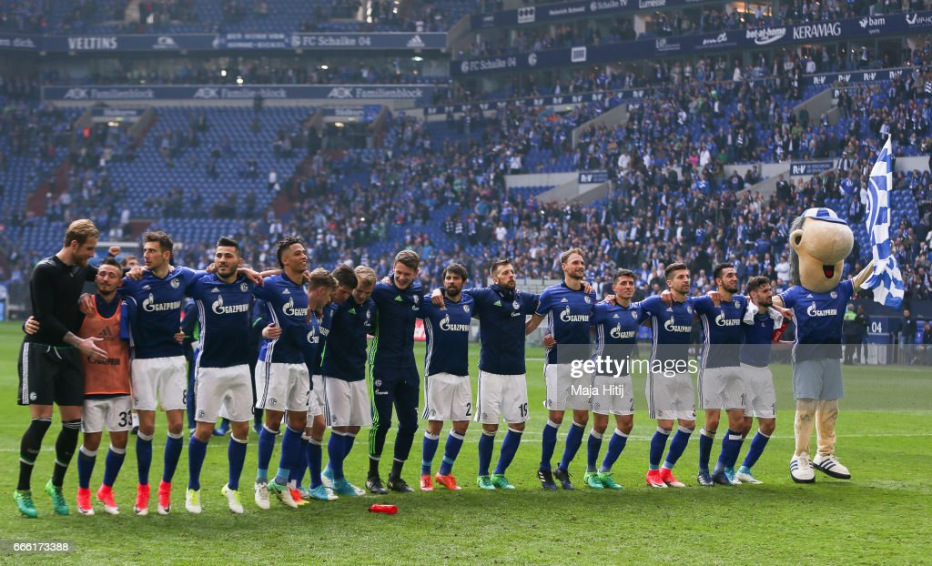 Team of Schalke celebrates after the Bundesliga match between FC Schalke 04 and VfL Wolfsburg at Veltins-Arena on April 8, 2017 in Gelsenkirchen, Germany.