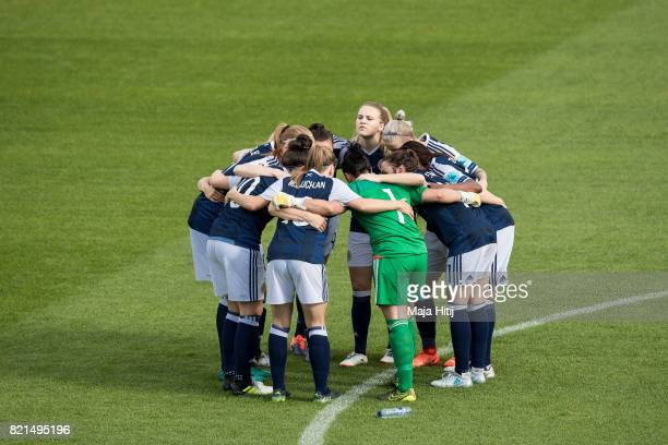 Team of Scotland gets together prior the UEFA Women's Euro 2017 Group D match between Scotland v Portugal at Sparta Stadion on July 23 2017 in...