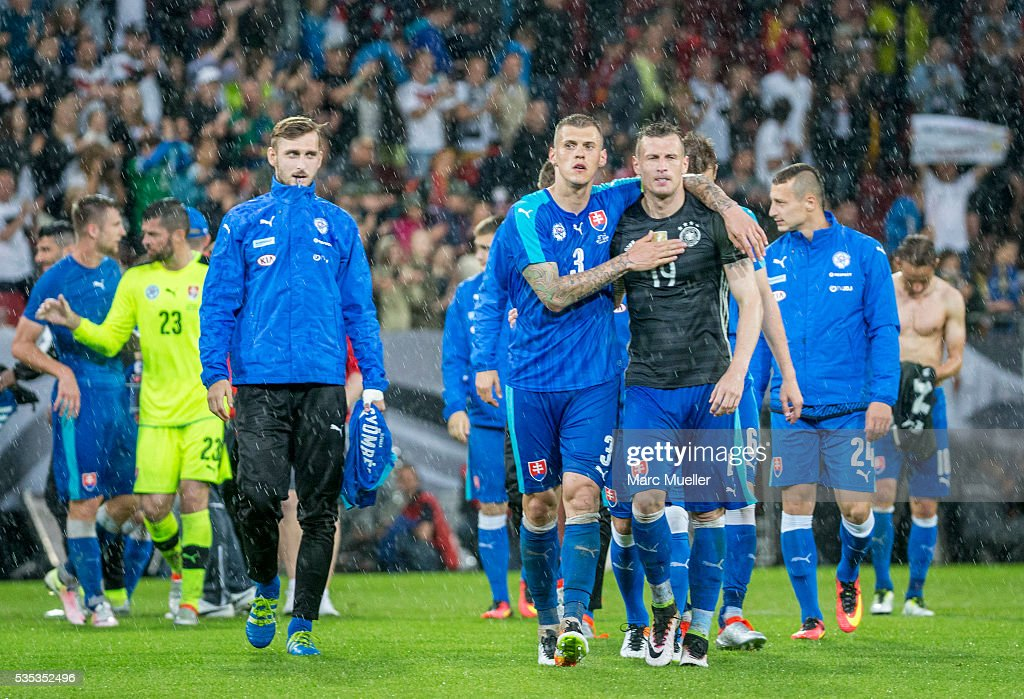 3 triumph against Germany after the international friendly match between Germany and Slovakia at WWK-Arena on May 29, 2016 in Augsburg, Germany.