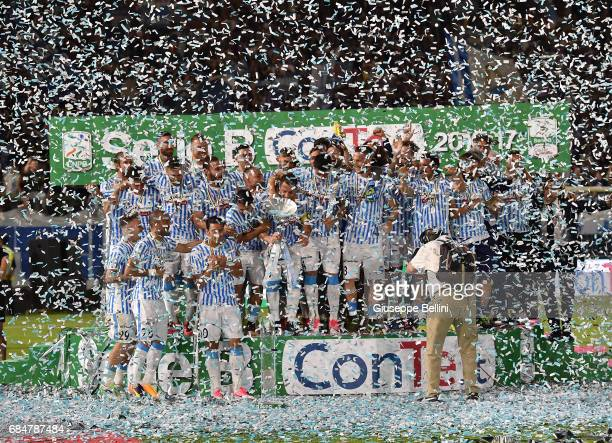 Team of SPAL celebrates promotions in series A after the Serie B match between SPAL and FC Bari at Stadio Paolo Mazza on May 18 2017 in Ferrara Italy