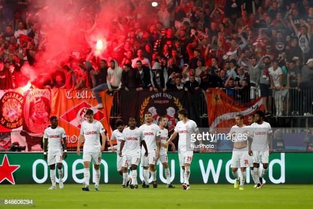 Team of Spartak Moskva celebrate after goal of Samedov Aleksandr during the UEFA Champions League Group E match between NK Maribor and Spartak Moskva...