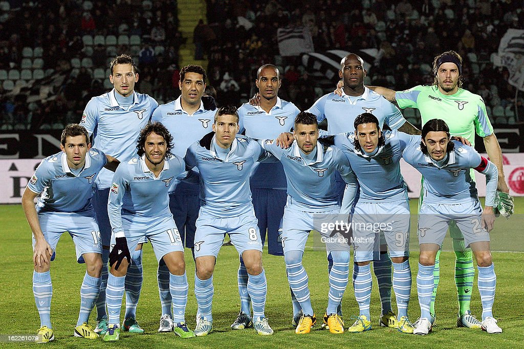 Team of SS Lazio line up prior to the Serie A match between AC Siena and S.S. Lazio at Stadio Artemio Franchi on February 18, 2013 in Siena, Italy.