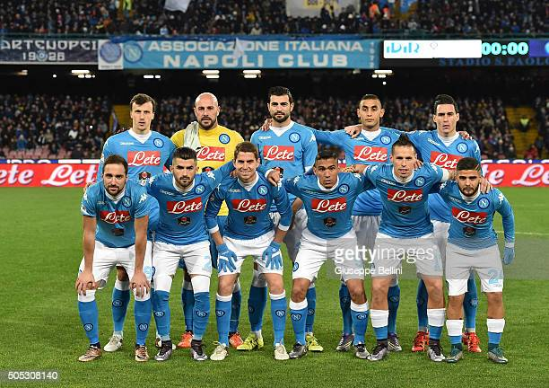 Team of SSC Napoli before the Serie A match between SSC Napoli and US Sassuolo Calcio at Stadio San Paolo on January 16 2016 in Naples Italy
