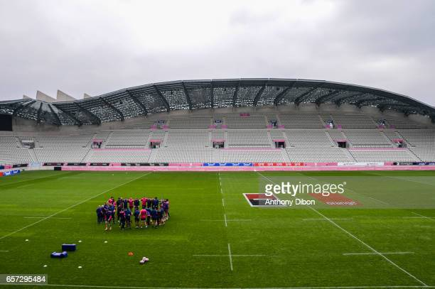 team of Stade Francais during the training session of the Stade Francais at Stade Jean Bouin on March 24 2017 in Paris France