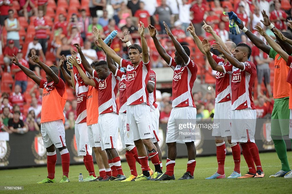 team of Standard celebrates pictured during the Jupiler League match between Standard Liege and SK Lierse on Augustus 4, 2013 in Liege, Belgium. (Photo by Vincent Kalut & Jimmy Bolcina / Photonews