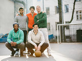 Team of street soccer players