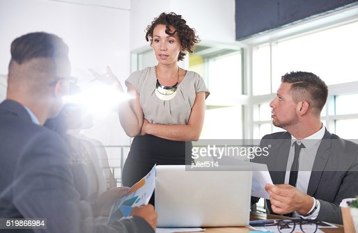 team of successful business people having a meeting in executive : Stock Photo
