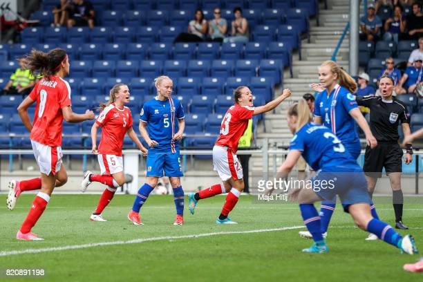 Team of Switzerland celebrates scoring first goal during the UEFA Women's Euro 2017 Group C match between Iceland and Switzerland at Stadion De...