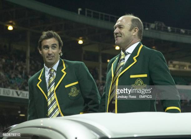Team of the century members Wally Lewis and Andrew Johns at the pre match parade