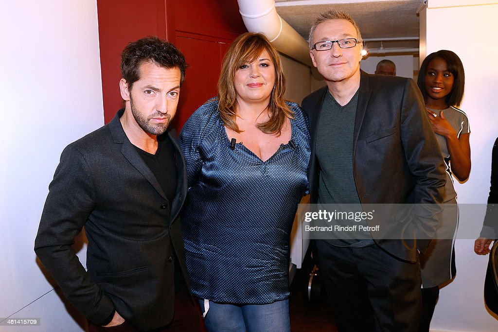 Team of the drama 'Je prefere qu'on reste amis' (L-R) actor frederic Diefenthal, main guest of the show Actress Michele Bernier and autor of the drama <a gi-track='captionPersonalityLinkClicked' href=/galleries/search?phrase=Laurent+Ruquier&family=editorial&specificpeople=2825920 ng-click='$event.stopPropagation()'>Laurent Ruquier</a> attend 'Vivement Dimanche' French TV Show. Held at Pavillon Gabriel on January 8, 2014 in Paris, France.