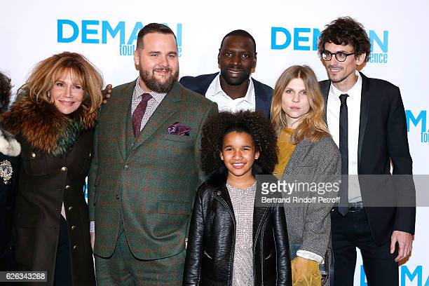 Team of the movie Actors Clementine Celarie Antoine Bertrand Omar Sy Gloria Colston Clemence Poesy and director Hugo Gelin attend the 'Demain Tout...