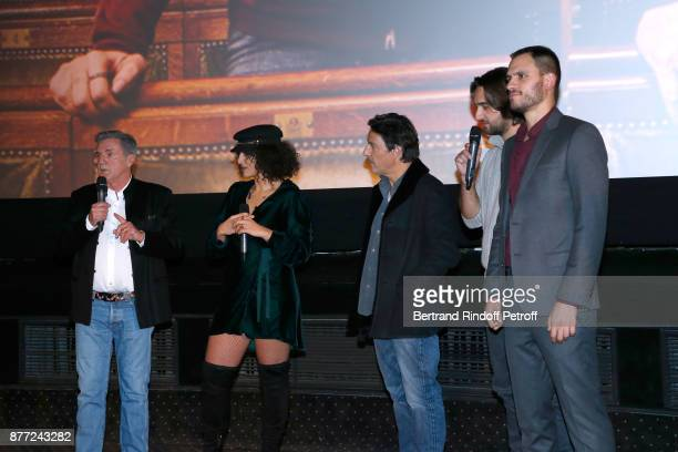 Team of the movie Actors Daniel Auteuil Camelia Jordana director Yvan Attal producers Dimitri Rassam and Benjamin Elalouf present the 'Le Brio' movie...