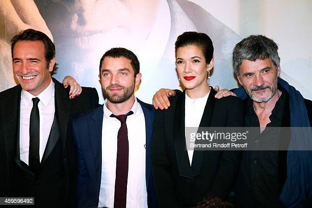 Team of the movie Actors Jean Dujardin Guillaume Gouix and Melanie Doutey attend the 'La French' Paris Premiere Held at Cinema Gaumont Capucine on...