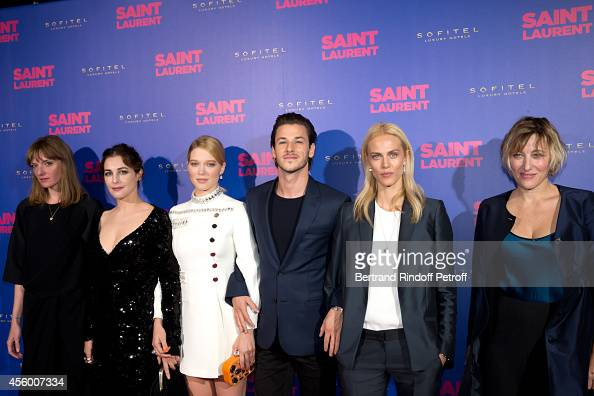 Team of the movie actors Kate Moran Amira Casar Lea Seydoux Gaspard Ulliel Aymeline Valade and Valeria Bruni Tedeschi attend the 'Saint Laurent'...