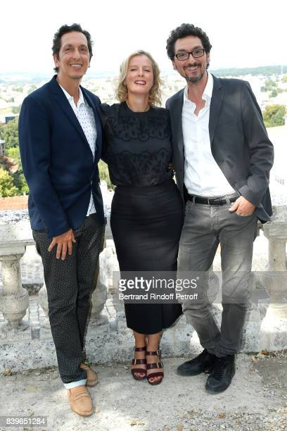 Team of the movie 'Jalouse' CoDirector Stephane Foenkinos actress Karin Viard and codirector David Foenkinos attend the 10th Angouleme FrenchSpeaking...