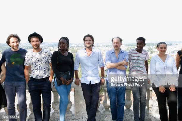 Team of the movie 'Les grands esprits' actor Denis Podalydes director Olivier AyacheVidal actors Salon Fanta Abdoulaye Diallo and Mona Magdy Fahim...