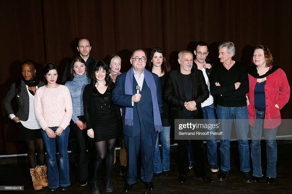 Team of the show attend 'Mongeville TV Show : La Nuit Des Loups' Private Screening at Club 13 on April 4, 2013 in Paris, France.