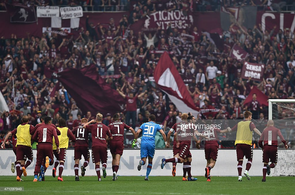Team of Torino FC celebrate victory at the end of the Serie A match between Torino FC and Juventus FC at Stadio Olimpico di Torino on April 26 2015...