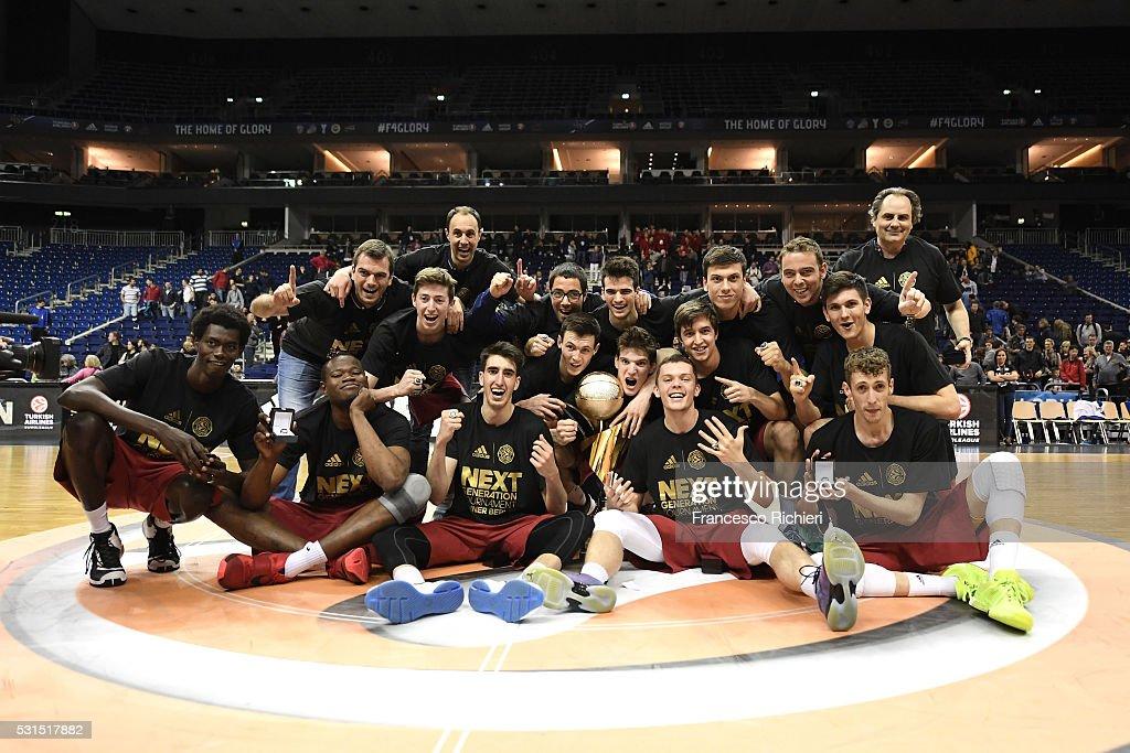 Team of U18 FC Barcelona Lassa celebrates after the Turkish Airlines Euroleague Basketball Adidas Next Generation Tournament Championship game...