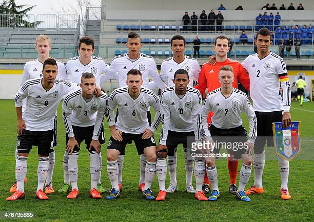 Team of U19 Germany before the U19 international friendly match between U19 Italy and U19 Germany at Stadio Bruno Recchioni on March 5 2014 in Fermo...
