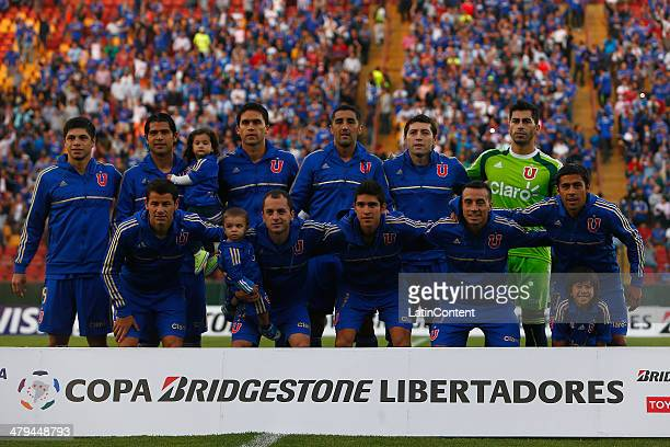 Team of Universidad de Chile pose for a photo prior to a match between Universidad de Chile and Real Garcilaso as part of the fourth round of Copa...