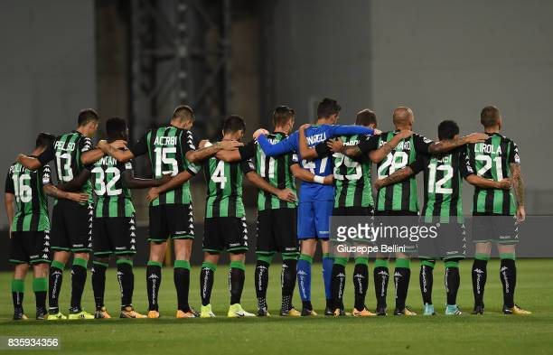 Team of US Sassuolo prior the Serie A match between US Sassuolo and Genoa CFC at Mapei Stadium Citta' del Tricolore on August 20 2017 in Reggio...