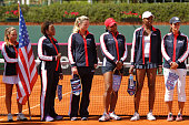 Team of USA before a singles match between Paula Ormaechea and Venus Williams as part of Fed Cup 2015 at Pilara Tenis Club on February 07 2015 in...
