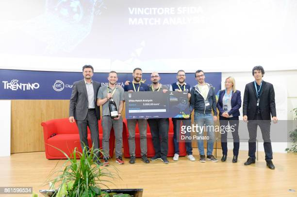 Team OGM during prize giving ceremony with Sara Ferrari Paolo Bouquet and Nicolo' Donna the second day of the Hackathon Event at the University of...