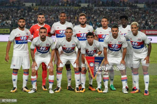 Team Olympique Lyonnais line up prior to the 2017 International Champions Cup match between FC Internazionale and Olympique Lyonnais at Olympic...