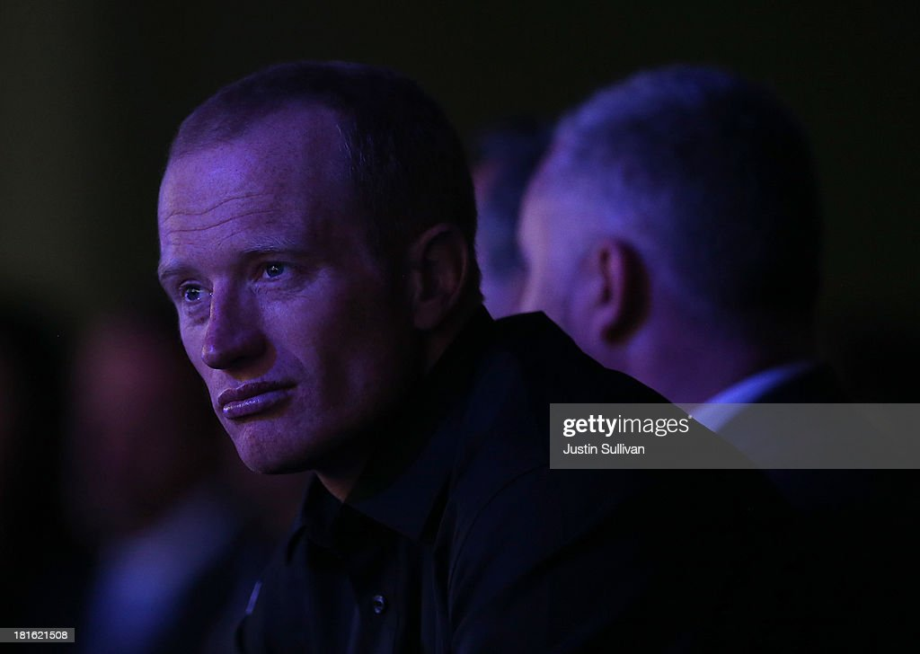 Team Oracle USA skipper James Spithill looks on during a keynote address by Oracle CEO Larry Ellison at the 2013 Oracle Open World conference on...