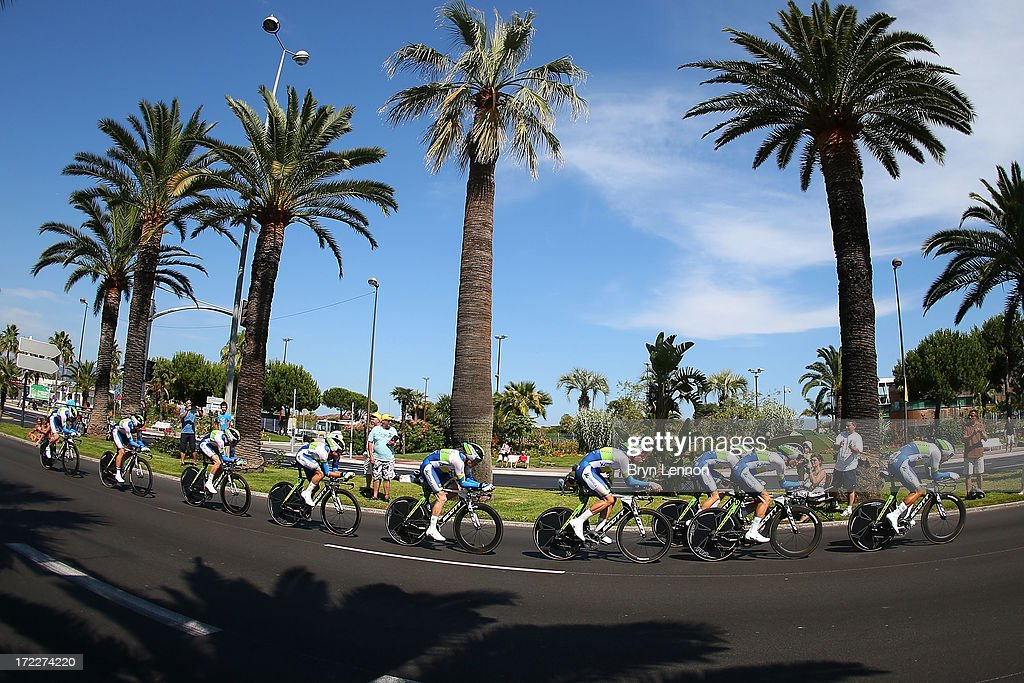 Team Orica Greenedge in action during stage four of the 2013 Tour de France, a 25KM Team Time Trial on July 2, 2013 in Nice, France.
