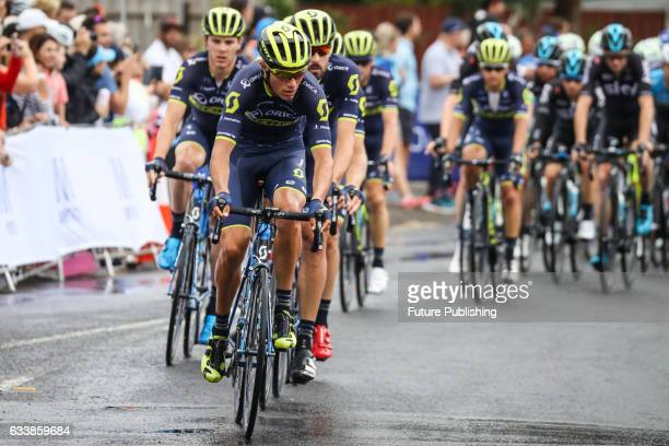 Team Orica Scott lead the peloton after lap 1 of stage 4 at Kinglake as part of the 2017 Jayco Herald Sun Tour on February 05 2017 in Melbourne...