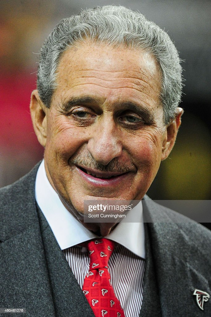 Team owner Arthur Blank of the Atlanta Falcons stands on the field prior to the game against the Pittsburgh Steelers at the Georgia Dome on December...