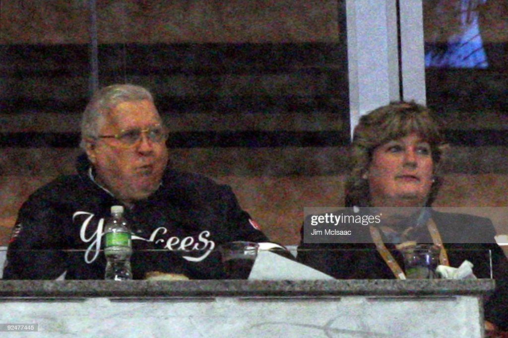 Team owner <a gi-track='captionPersonalityLinkClicked' href=/galleries/search?phrase=George+Steinbrenner&family=editorial&specificpeople=220576 ng-click='$event.stopPropagation()'>George Steinbrenner</a> and his wife Joan watch the New York Yankees play against the Philadelphia Phillies in Game One of the 2009 MLB World Series at Yankee Stadium on October 28, 2009 in the Bronx borough of New York City.