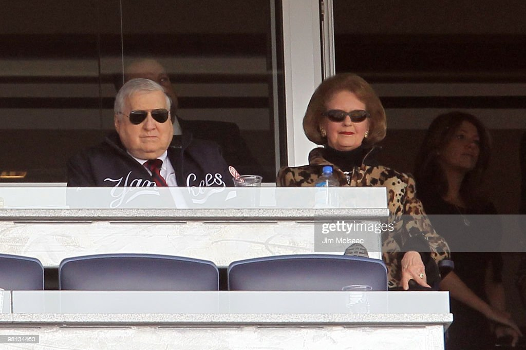 Team owner <a gi-track='captionPersonalityLinkClicked' href=/galleries/search?phrase=George+Steinbrenner&family=editorial&specificpeople=220576 ng-click='$event.stopPropagation()'>George Steinbrenner</a> and his wife Joan watch the New York Yankees play against of the Los Angeles Angels of Anaheim during the Yankees home opener at Yankee Stadium on April 13, 2010 in the Bronx borough of New York City.