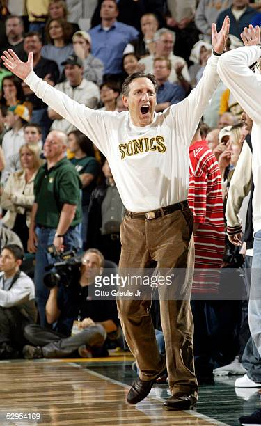 Team owner Howard Schultz of the Seattle SuperSonics reacts near the end of the game against the San Antonio Spurs in Game six of the Western...