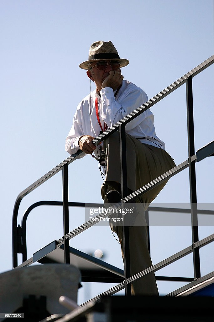 Team owner Jack Rousch stands on top of a hauler during practice for the NASCAR Sprint Cup Series CROWN ROYAL Presents The Heath Calhoun 400 at Richmond International Raceway on April 30, 2010 in Richmond, Virginia.