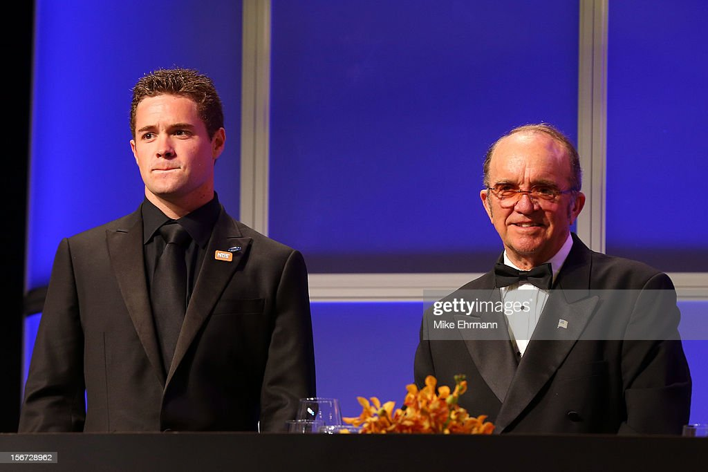 Team owner <a gi-track='captionPersonalityLinkClicked' href=/galleries/search?phrase=Jack+Roush&family=editorial&specificpeople=260209 ng-click='$event.stopPropagation()'>Jack Roush</a> (R) and Nationwide Series Champion <a gi-track='captionPersonalityLinkClicked' href=/galleries/search?phrase=Ricky+Stenhouse+Jr.&family=editorial&specificpeople=5380612 ng-click='$event.stopPropagation()'>Ricky Stenhouse Jr.</a> (L) attend the NASCAR Nationwide Series And Camping World Truck Awards Banquet at Loews Miami Beach on November 19, 2012 in Miami Beach, Florida.