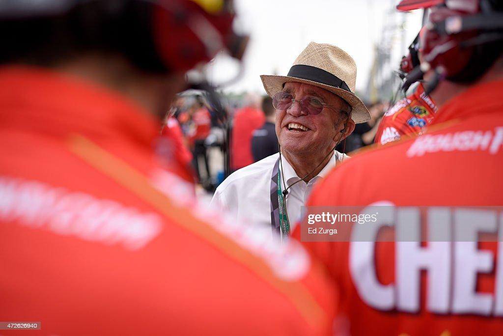 Team owner Jack Roush looks on during qualifying for the NASCAR Sprint Cup Series SpongeBob SquarePants 400 at Kansas Speedway on May 8, 2015 in Kansas City, Kansas.