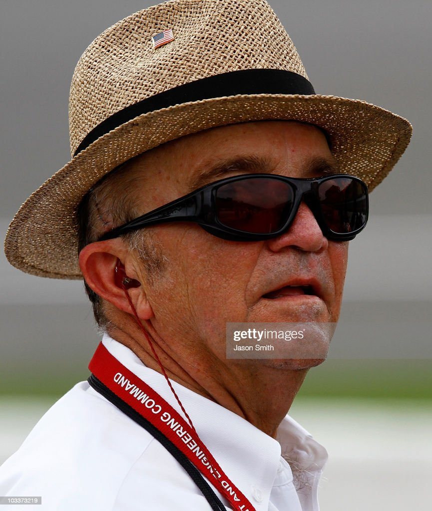 Team owner <a gi-track='captionPersonalityLinkClicked' href=/galleries/search?phrase=Jack+Roush&family=editorial&specificpeople=260209 ng-click='$event.stopPropagation()'>Jack Roush</a> looks on from the grid during qualifying for the NASCAR Sprint Cup Series CARFAX 400 at Michigan International Speedway on August 13, 2010 in Brooklyn, Michigan.