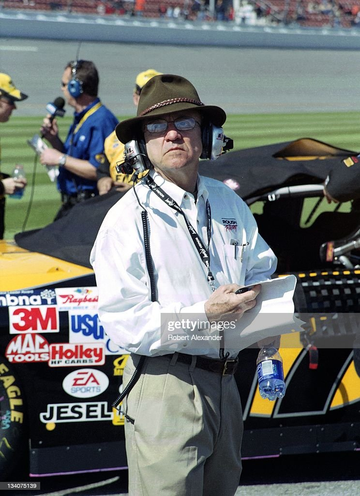 NASCAR team owner <a gi-track='captionPersonalityLinkClicked' href=/galleries/search?phrase=Jack+Roush&family=editorial&specificpeople=260209 ng-click='$event.stopPropagation()'>Jack Roush</a> pauses along pit road prior to the start of the 2005 Daytona 500 at the Daytona International Speedway on February 20, 2005 in Daytona Beach, Florida.