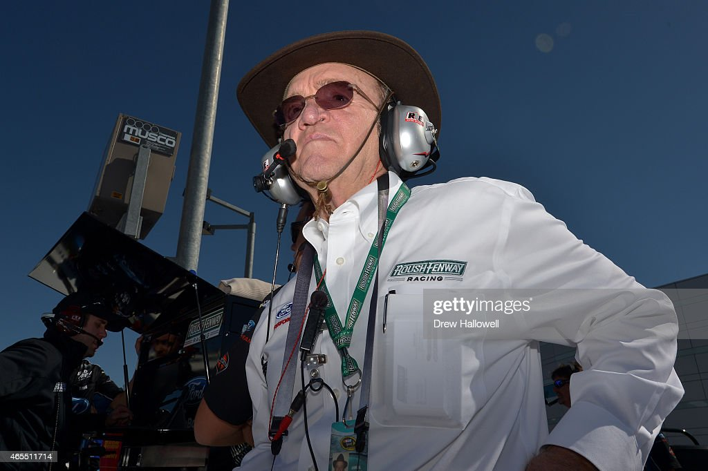 Team owner <a gi-track='captionPersonalityLinkClicked' href=/galleries/search?phrase=Jack+Roush&family=editorial&specificpeople=260209 ng-click='$event.stopPropagation()'>Jack Roush</a> walks on the grid during qualifying for the NASCAR XFINITY Series Boyd Gaming 300 at Las Vegas Motor Speedway on March 7, 2015 in Las Vegas, Nevada.