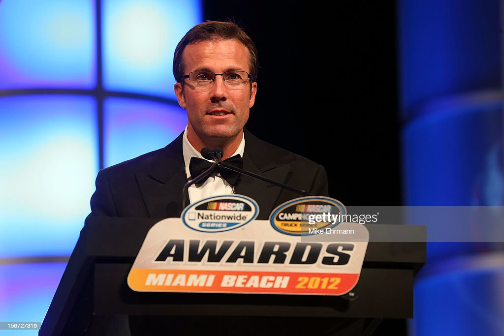 Team Owner J.D. Gibbs speaks during the NASCAR Nationwide Series And Camping World Truck Awards Banquet at Loews Miami Beach on November 19, 2012 in Miami Beach, Florida.