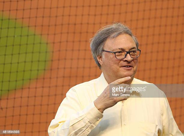 Team Owner Jeffrey Loria of the Miami Marlins reacts during the first inning against the Colorado Rockies at Marlins Park on April 1 2014 in Miami...