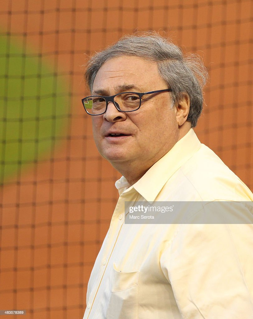 Team Owner <a gi-track='captionPersonalityLinkClicked' href=/galleries/search?phrase=Jeffrey+Loria&family=editorial&specificpeople=692109 ng-click='$event.stopPropagation()'>Jeffrey Loria</a> of the Miami Marlins reacts during the first inning against the Colorado Rockies at Marlins Park on April 1, 2014 in Miami, Florida. The Marlins defeated the Rockies 4-3.