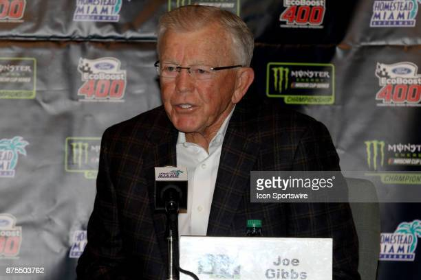 Team Owner Joe Gibbs of the MM's Caramel Toyota at a press conference before practice for the Ford Ecoboost 400 at HomesteadMiami Speedway on...