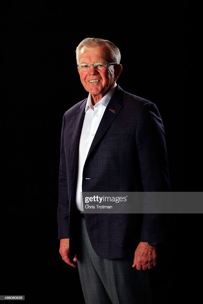Team owner <a gi-track='captionPersonalityLinkClicked' href=/galleries/search?phrase=Joe+Gibbs&family=editorial&specificpeople=171526 ng-click='$event.stopPropagation()'>Joe Gibbs</a> poses for a photo during the NASCAR Sprint Cup Championship 4 Media Day at Westin Diplomat on November 19, 2015 in Hollywood, Florida.
