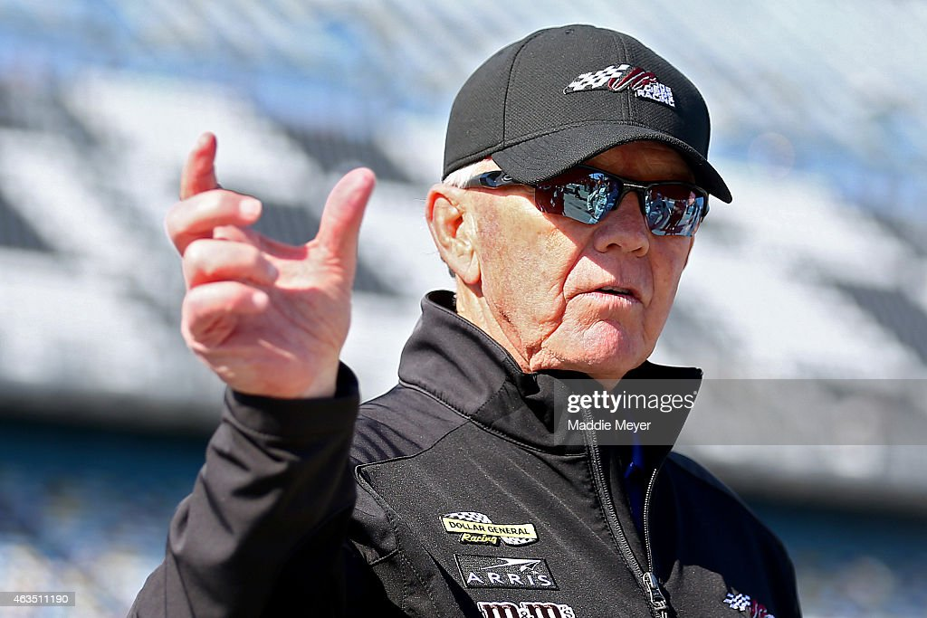 Team owner <a gi-track='captionPersonalityLinkClicked' href=/galleries/search?phrase=Joe+Gibbs&family=editorial&specificpeople=171526 ng-click='$event.stopPropagation()'>Joe Gibbs</a> stands on the grid during qualifying for the 57th Annual Daytona 500 at Daytona International Speedway on February 15, 2015 in Daytona Beach, Florida.