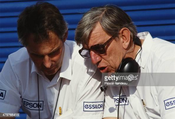 Team owner Ken Tyrrell talking with Harvey Postlethwaite designer of the distinctive invertedV anhedral front profile Tyrrell 019 during pre season...